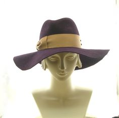Wide Brim Womens Fedora Hat - Felt Winter Hat - Aubergine Eggplant Purple