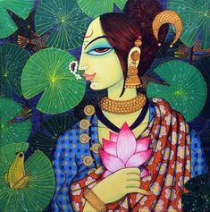 Artist Varsha Kharatamal's Beauty And Lotus 2 Painting Online. Red-Violet acrylic Painting by Varsha Kharatamal on Canvas, Figurative based on theme Beautiful Life. Lotus Painting, Mural Painting, Fabric Painting, Figure Painting, Interior Painting, Painting Tips, Painting Techniques, Madhubani Art, Madhubani Painting