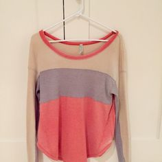FREE PEOPLE ✨ Long Sleeve Waffle Thermal Has been worn a few times but it's not significantly noticeable. Keeps you cozy and warm during the colder months, but also is loose and airy for the warmer warmths. The shirt style was made to have a slight discoloration on the sides of the shirt to give a distressed look.   The only sign of wear are two small spots on the back that are slightly lighter than the rest, but it is hardly noticeable (shown in last picture). Free People Tops Tees - Long…