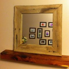Barn Wood Framed Mirror 12x12 SOLID OAK by 3SistersCountryStore, $52.00