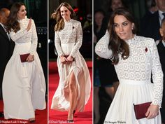 We saw the Duchess debut another new designer at a November film premiere when she wore the Pleated Crochet Maxi Dress by Self Portrait. The dress showcased guipure-lace on the bodice and sleeves, high neck, and shutter-pleated crepe skirt with a high slit.©