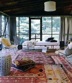 indoor patio. rugs.