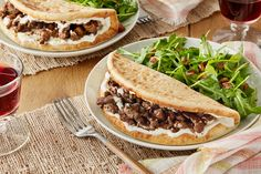 Spiced Beef Pitas & Garlic Labneh with Arugula & Date Salad. Visit https://www.blueapron.com/ to receive the ingredients.