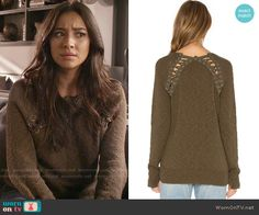 Emily's lace up sweater on Pretty Little Liars.  Outfit Details: https://wornontv.net/58603/ #PLL  Buy it here: http://wornon.tv/36951
