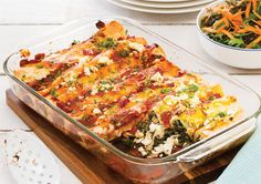 What's cheesy, with a healthy twist? These tasty Feta and Kale Enchiladas.