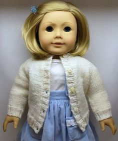 """Free 18"""" doll cardigan knitting pattern (and a lot of pattern of other size dolls).  Scroll down the page."""