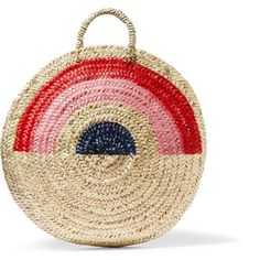 Vanessa Seward Dakar painted straw tote (315 BRL) ❤ liked on Polyvore featuring bags, handbags, tote bags, beach bag, straw bag, neutral, straw handbags, beach tote bags, colorful tote bags and straw tote beach bag