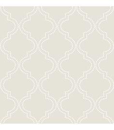 WallPops®️️NuWallpaper™️ Taupe Quatrefoil Peel And Stick Wallpaper