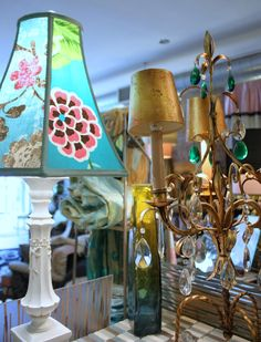 Custom made lampshade, drapes and original art Lampshades sell from 175.00 to 300.00 all made in Designers Guild fabric