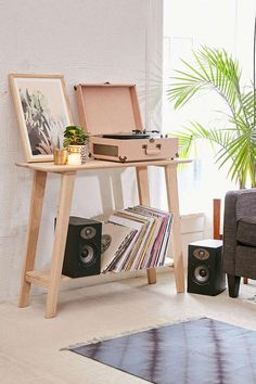 How to Set Up Your Record Player - Camille Styles simple wooden console table                                                                                                                                                                                 More