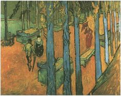 Vincent van Gogh Les Alyscamps: Falling Autumn Leaves Painting