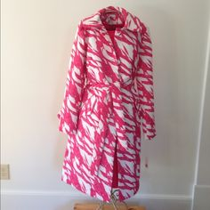 Damask Dress and Matching Coat Perfect for a wedding or cocktail event! Hot pink and white belted overcoat atop a hot pink shift dress. A heavier weight damask fabric, both coat and dress are fully lined.  Measures 38 inches from shoulder to the bottom of dress. Cost is 40.5 inches is shoulder to hem. 34% polyester, 66% cotton,  Dry clean only. No trades or Paypal please. NWOT. Spiegel Dresses