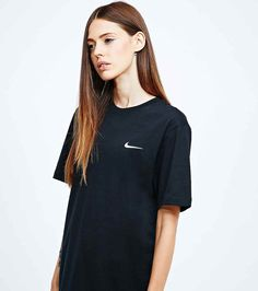 black nike shirt with embroidered swoosh - Google Search