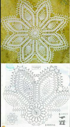 Cute crochet doilies or center table/ table clothes Crochet Doily Diagram, Crochet Doily Patterns, Crochet Mandala, Filet Crochet, Irish Crochet, Crochet Motif, Crochet Dollies, Crochet Stars, Thread Crochet