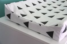 black triangles contoured changing pad cover by iviebaby on Etsy