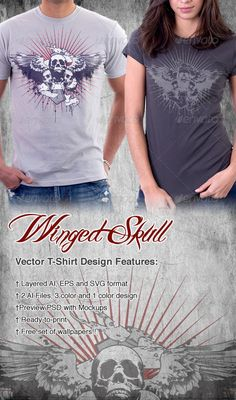 #Winged Skull #Band #T-shirt - #Grunge #Designs Download here: https://graphicriver.net/item/winged-skull-band-tshirt/2203952?ref=alena994