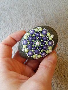 Mandala Stone OOAK Painted Rock Purple and Green Dot Art