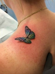 3-D butterfly on shoulder tattooed by Chris Burke at Serenity Ink Milwaukee, Wi - Imgur
