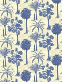 Coconut+Grove+Cobalt+,+a+feature+wallpaper+from+Sophie+Conran,+featured+in+the+Reflections+collection.