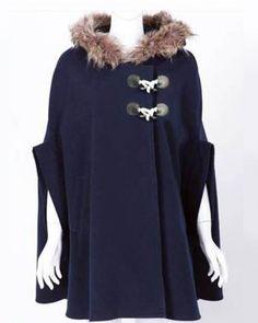Dark Blue Bat Sleeve Horn Button Loose Woolen Hooded Coat Indressme$50.40