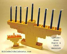 LEGO Menorah for Hanukkah (upside-down construction): mini and life-size.