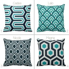 BOGO Aqua Navy White Geometric Diamond Throw Pillow by PrimalVogue, $25.00
