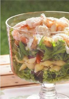 Layered Caesar, Shrimp & Pasta Salad -- Caesar dressing combined with mayo and fresh garlic is the secret to the big crowd-pleasing flavor in this Healthy Living pasta salad recipe.