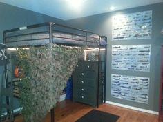 Loft bed, military army theme boys room