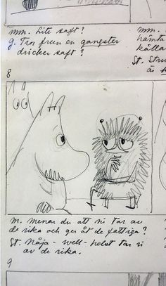 Original drawings by Tove Jansson, in an exhibition of her work at the Centre Belge de la Bande Dessinée.