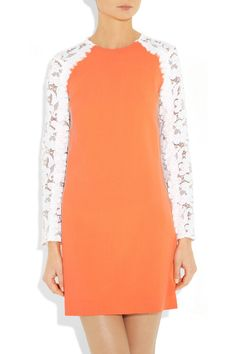 CHRISTOPHER KANE  Neon lace-sleeve wool-blend crepe dress