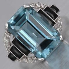 Anillo Aquamarine Art Deco de lorie