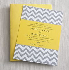 Handmade Wedding Invitation Yellow And Gray Invite Rsvp
