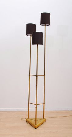 Hollywood Regency Floor Lamp with Parchment Brass by AMBIANIC, $2100.00
