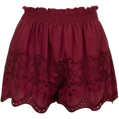 TopShop Broidery Flippy Shorts ($40) ❤ liked on Polyvore featuring shorts, bottoms, pants, burgundy, burgundy shorts, elastic waistband shorts, elastic waist shorts, cotton shorts and topshop