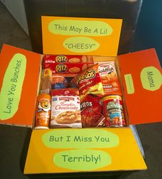 "My ""cheesy"" care package for my college freshman was a major success, considering it was crafted by me. I'm not crafty at all!"