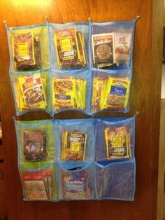 using a pocket organizer for small pantry items