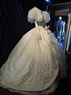 Hollywood Movie Costumes and Props: Giselle fairytale gown worn by Amy Adams in Enchanted on display... Original film costumes and props on display