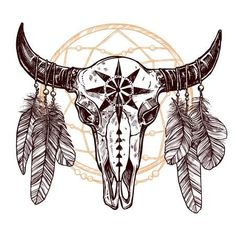Boho Buffalo Skull With Feathers And Dreamcatcher Hand Drawn Sketch Native American Totem achetez cette illustration sur Shutterstock et trouvez dautres images Native American Drawing, Native American Totem, Native American Tattoos, Native Tattoos, American Indians, Bull Skull Tattoos, Bull Skulls, Animal Skulls, Body Art Tattoos