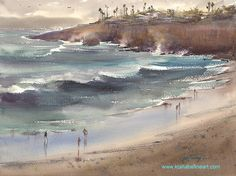 """""""Winter Sky over Sunset Cliffs (San Diego, California) II"""" watercolor by Keiko Tanabe"""