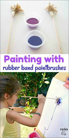 Make your own paintbrushes and let the kids get creative by painting with rubber band paintbrushes!