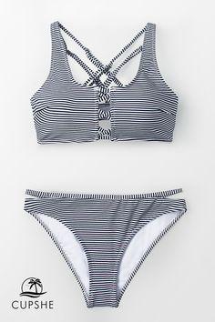 Pretty and versatile, Our Enchanted Stripe and Strappy Bikini is a go-to classic. This bikini. Bikini Sets, Push Up Bikini, Bikini Beach, Bandeau Bikini, Bikini Swimwear, Sexy Bikini, Bikinis, Bikini Top, Bikini Outfits