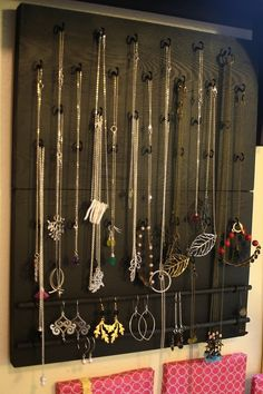 Jewelry organization  Cup hooks and dowel for earrings and bracelets