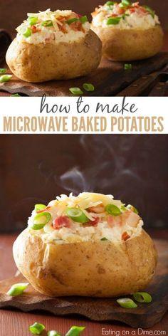 Easy to make Microwave Baked Potatoes - Rezepte Essen Cook Potatoes In Microwave, Baked Potato Microwave, Cooking Baked Potatoes, Microwave Baking, Potatoes In Oven, How To Cook Potatoes, Microwave Recipes, Cooking Recipes, Cheesy Potatoes