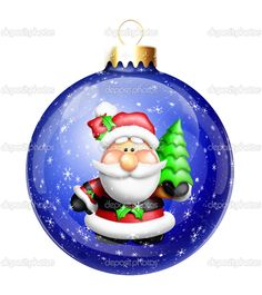 Gumdrop Cartoon Santa in Christmas Ball Ornament — Stock Photo ...