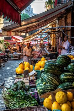 Catania Market, Sicily, Italy ~ Sicily simply charms its visitors: the city Palermo, strongly influenced by the Arab and Norman civilizations, the Greek ruins of Agrigento and Syracuse, the seven Aeolian Islands home to lush vineyards and luxury hotels, the beaches of Taormina, and a delicious local cuisine.:
