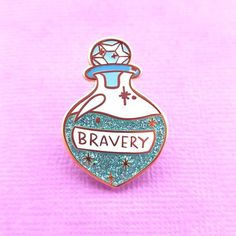 Brew of Bravery Lapel Pin - Jubly-Umph Originals Bag Pins, Witch Art, Cool Pins, Metal Pins, Pin And Patches, Kawaii Cute, Pin Badges, Cute Stickers, Lapel Pins