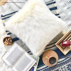 Scandinavian Euro Sham White fur pillow covers 26 X 26 decorative white suede pillow cover ONE
