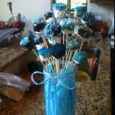 Marshmallow pops for boy baby shower.