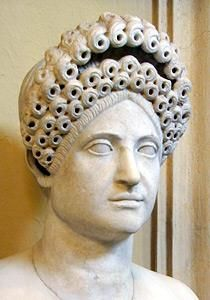 Bust of woman with elaborate Flavian hairstyle Roman, late first-second century CE