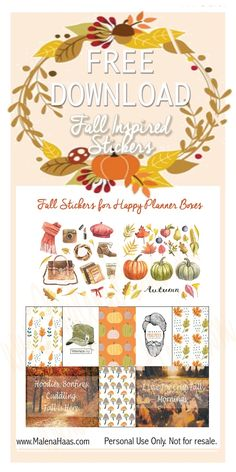 Free Printable Fall Inspired Planner Stickers | malenahaas.com